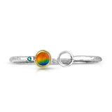 Eve Bangle Ammolite Sterling Silver and Yellow Gold