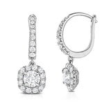 14K gold and white diamond dangle earrings, stunning 0.88 total carat weight.