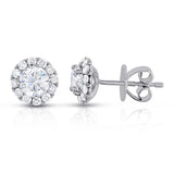 14K gold and white diamond stud earrings, stunning 1.36 total carat weight.