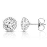 14K gold and white diamond stud earrings, stunning 2.13 total carat weight.