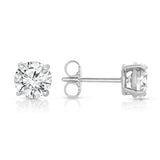 14K gold and white diamond stud earrings, stunning 0.92 total carat weight.