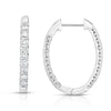 14K gold and white diamond hoop earrings, stunning 1.47 total carat weight.