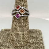 Sterling Silver 3 row Multi sapphire ring