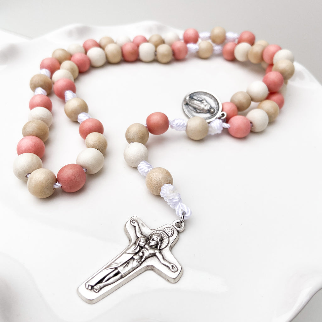 'Begin Again' Wood Beaded Rosary
