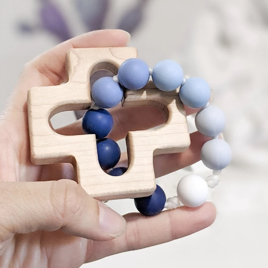 Blue Ombré Decade Rosary Teething Ring