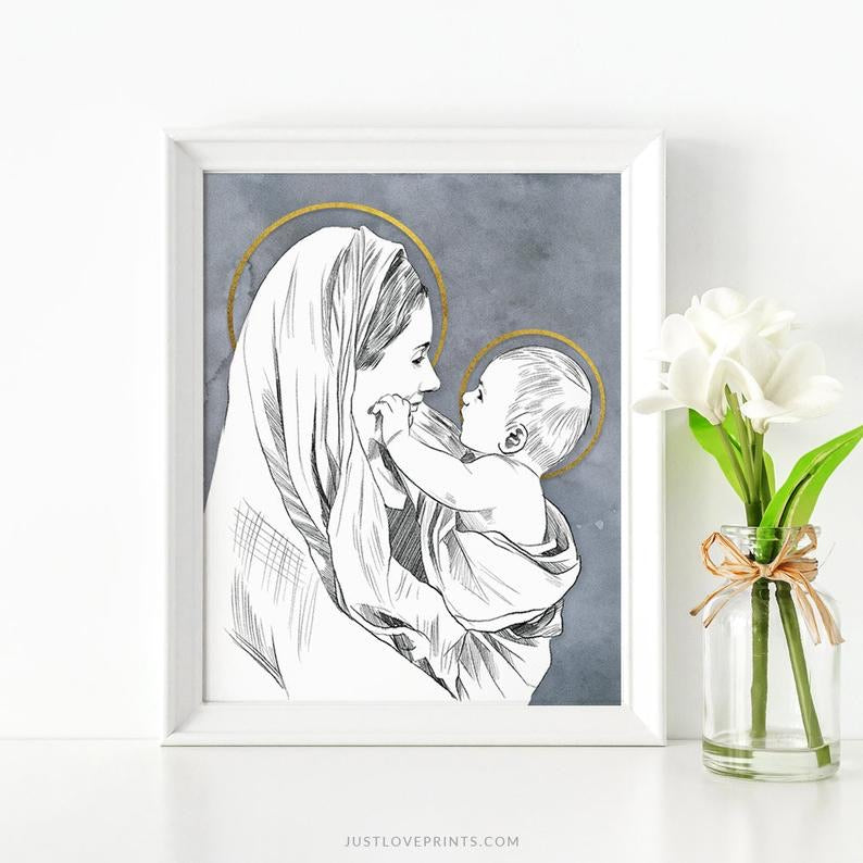 'Mary and Baby Jesus' Print (8x10)