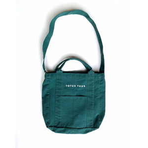 Pocketed Totus Tuus Tote Bag in Spruce Green