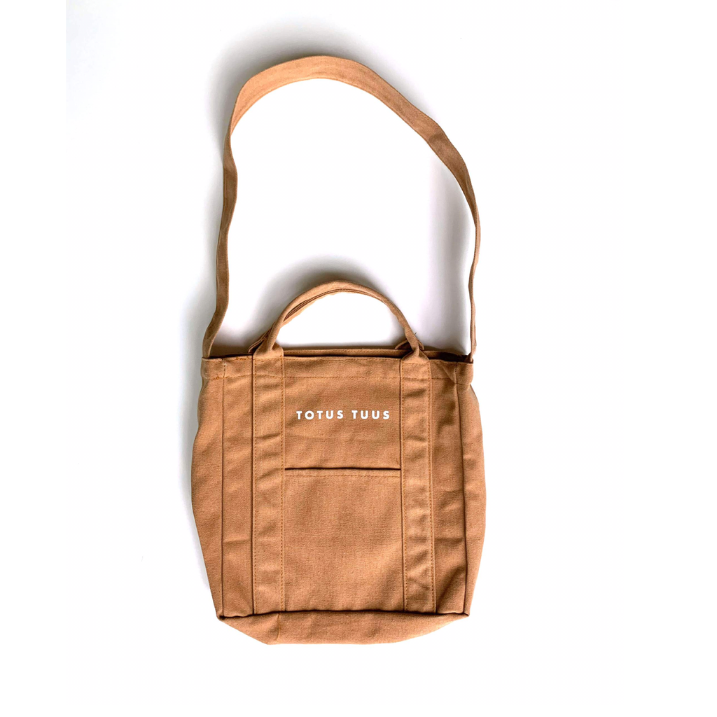 Pocketed Totus Tuus Tote Bag in Ochre