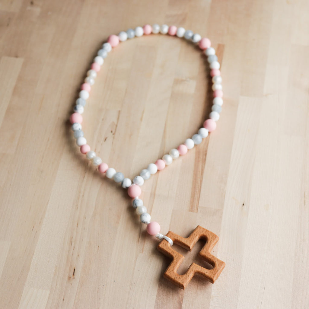 Rosary for Littles in Rose Quartz