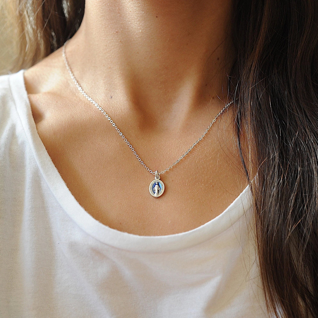 Blue Miraculous Medal Necklace