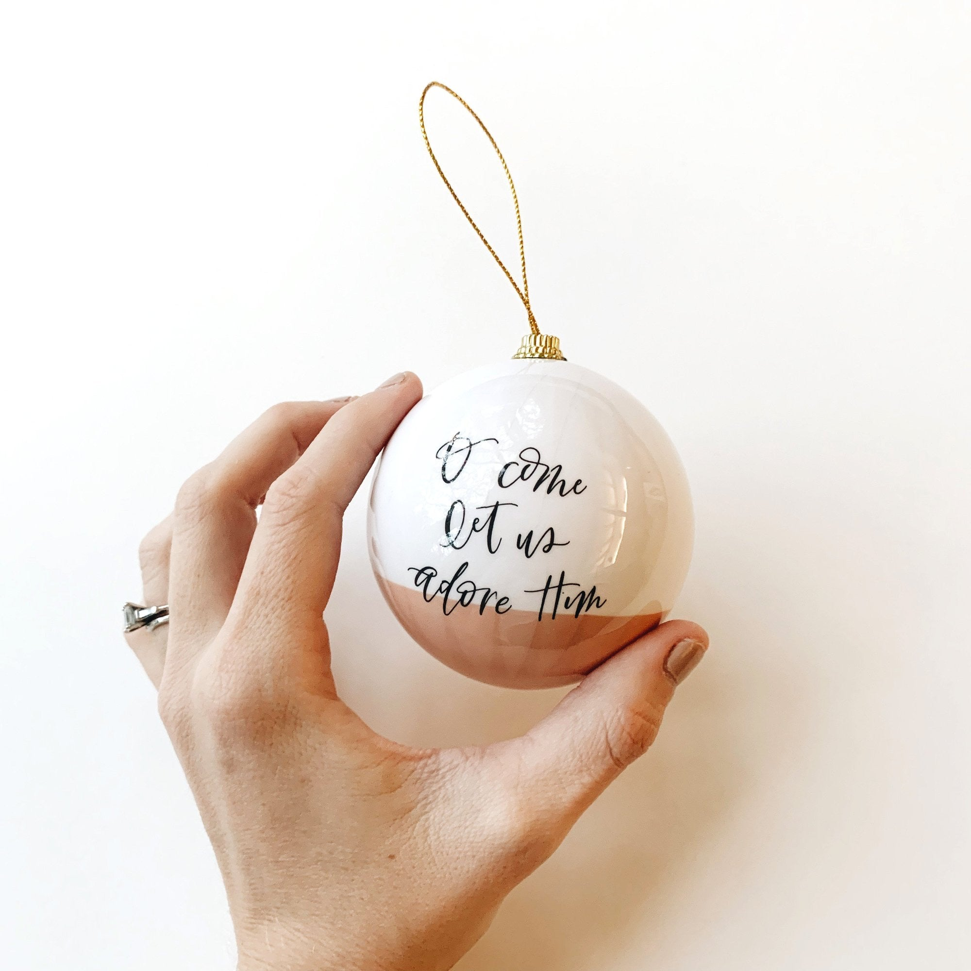 'O Come Let Us Adore Him' Christmas Ornament