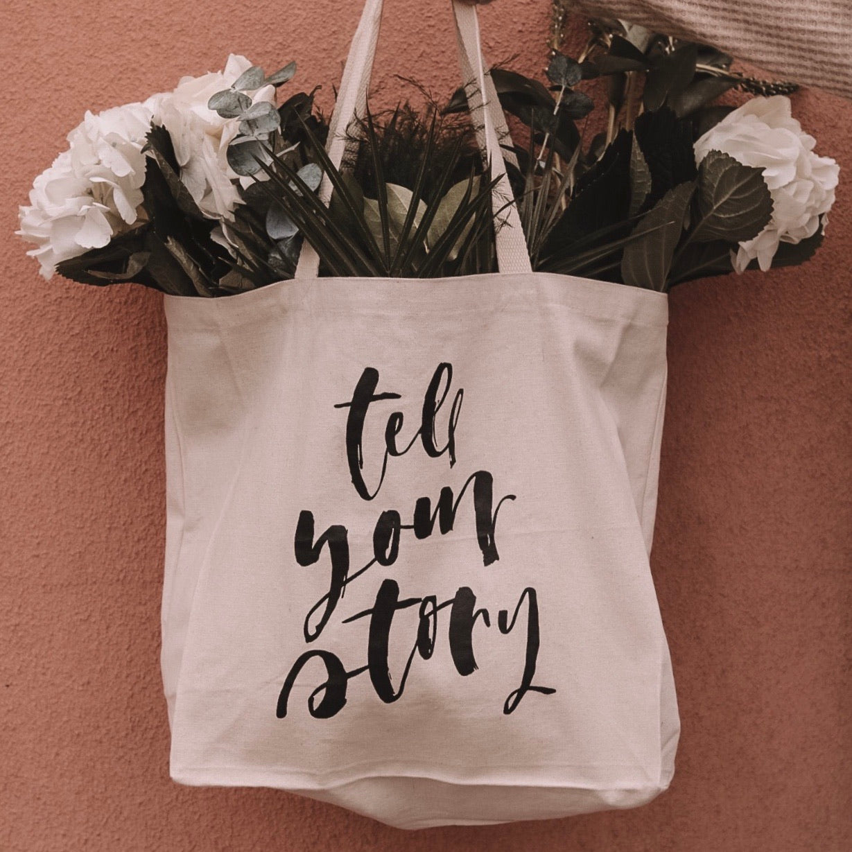 'Tell Your Story' Canvas Tote Bag