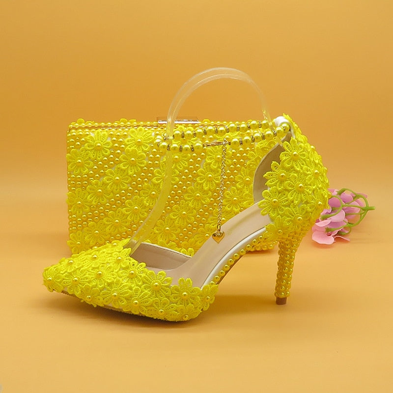 Mr. Black's Yellow Flower Wedding Shoes