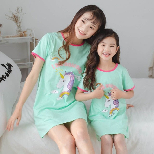 Beautiful Parent-child Unicorn Night Gowns