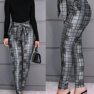 Grid Design Casual Pants