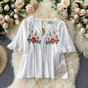 Sweet Embroidered V-neck Casual Blouse