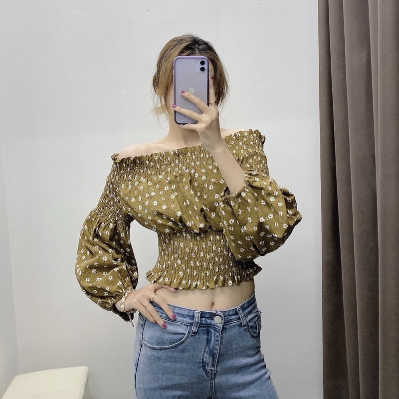 Slash Neck Full Sleeve Floral Printed Top
