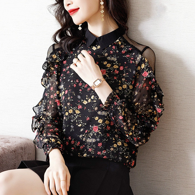 Korean Style Shirt Off Shoulder Printed