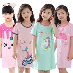 Unicorn Cotton Nightdress For Kids