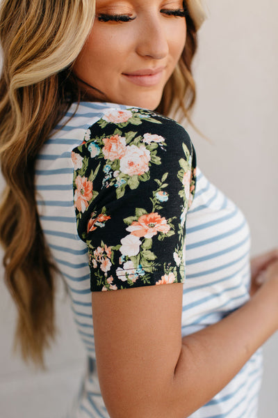 LuLu Blue Floral Accent Sleeve Tee