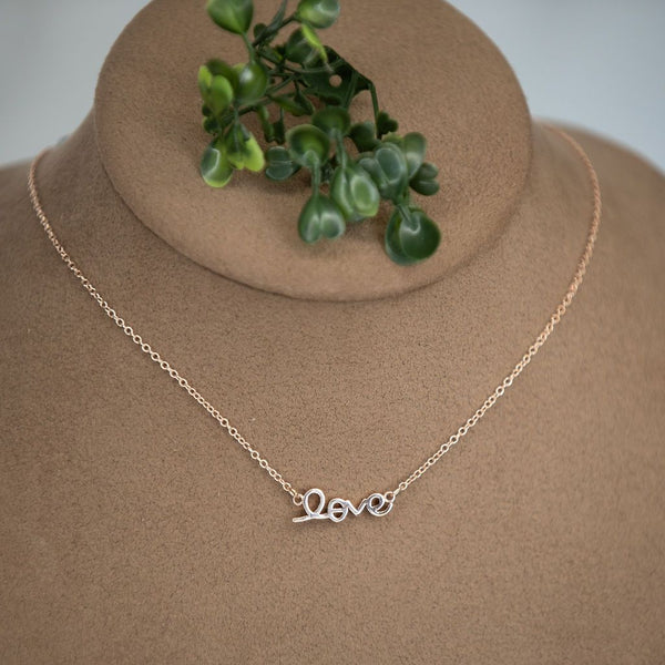 Script Love Necklace : available in silver, gold, and rose gold.