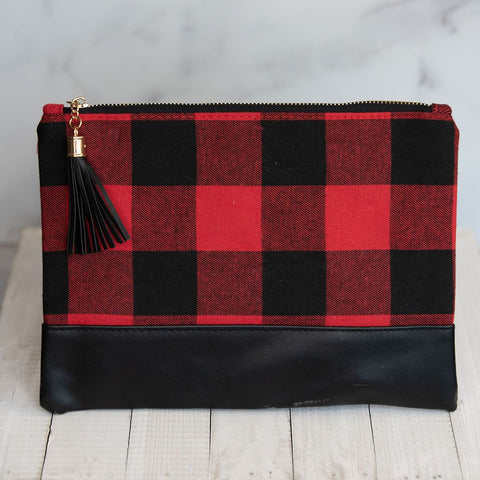 Buffalo Check Zip Clutch with Tassel (Shipping Mid November)