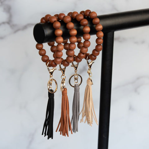 Wood Beaded Oversized Bracelet Keyring