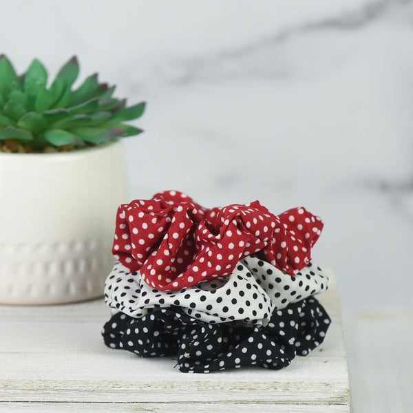 Pin Dot Hair Scrunch Set: Red, Black and White