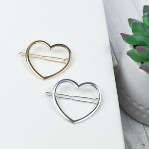 Heart Barrette in Gold or Silver