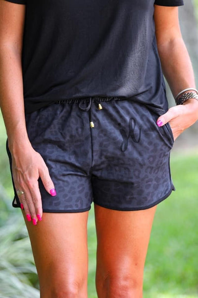 Solid Black & Black Leopard Essential Drawstring Shorts