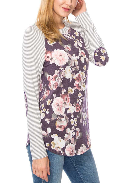 Floral Pin Stripe Top