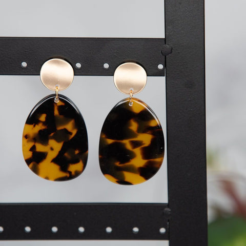 Debbie Faux Tortoise Dangle Earrings