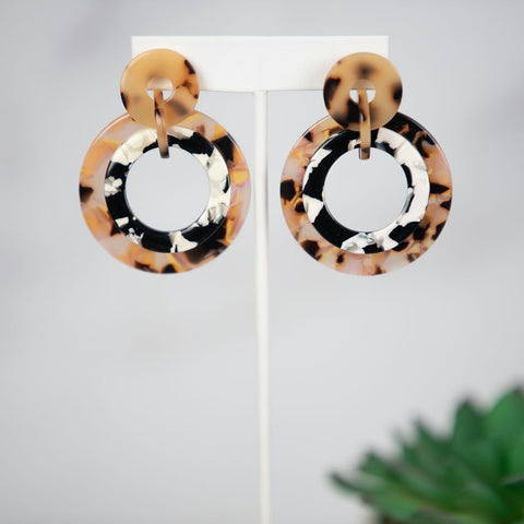 Arianna Tri Color Tortoise Dangle Earrings