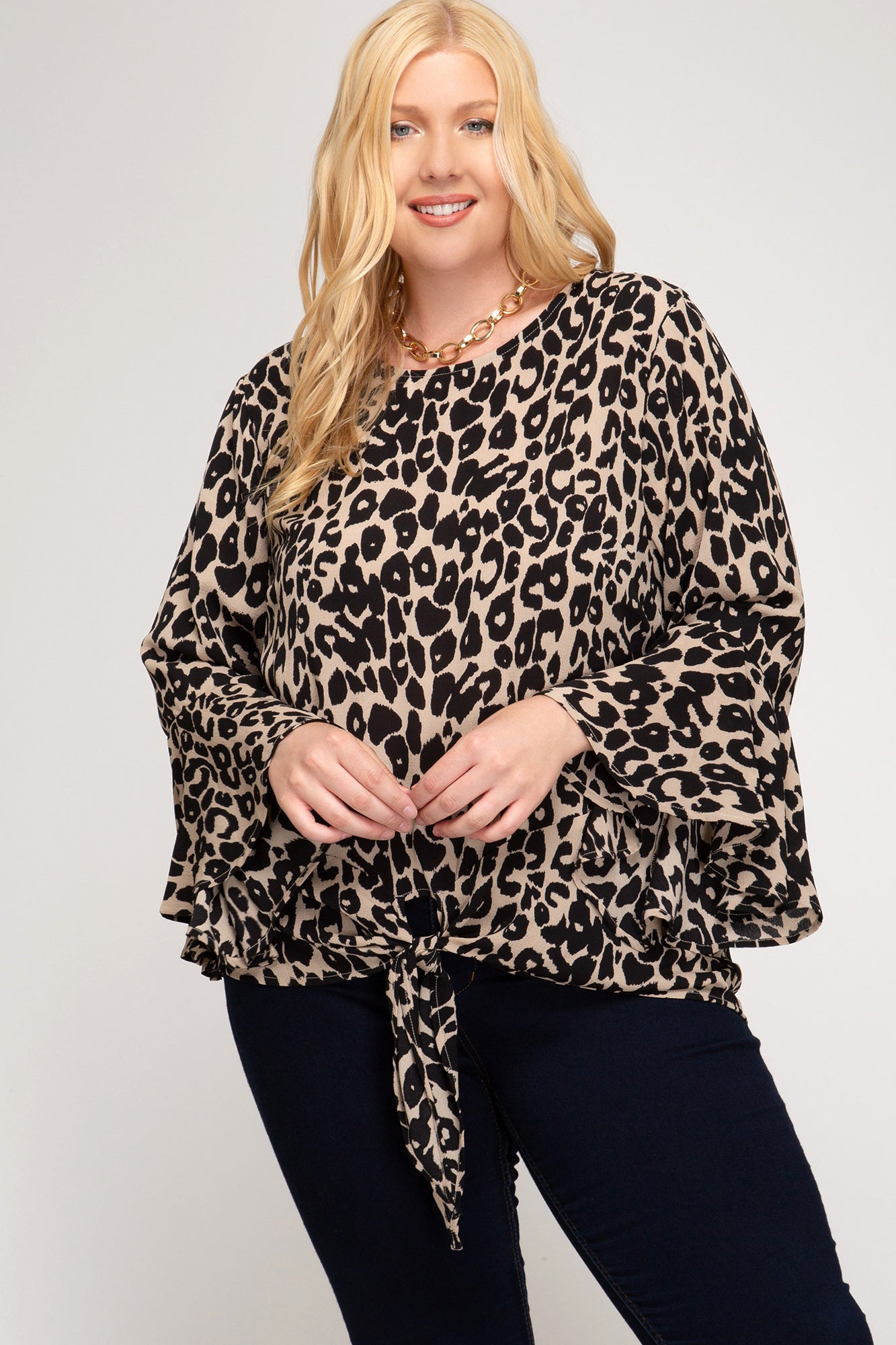 Taupe Leopard Tie Top