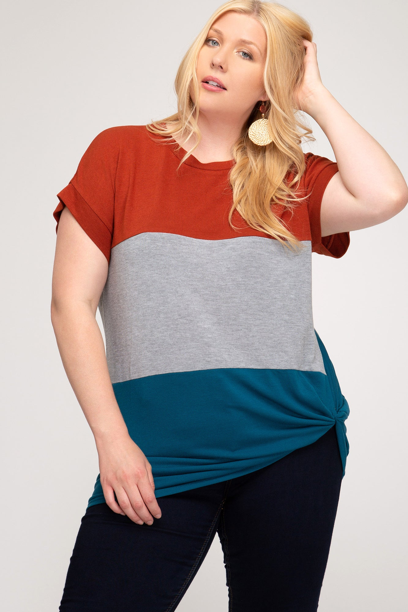 Rust Color-Block Tie Top