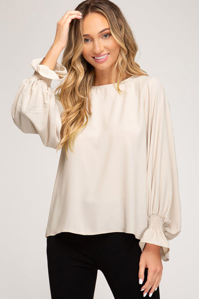 Ecru Bubble Sleeve Top