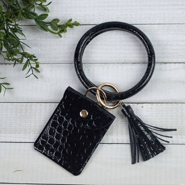 Ashley Halo Bangle Keychain with Tassel and Snap Pouch