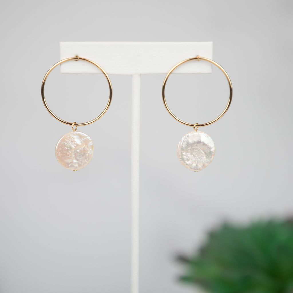 Gigi Freshwater Pearl Coin Dangle Earring