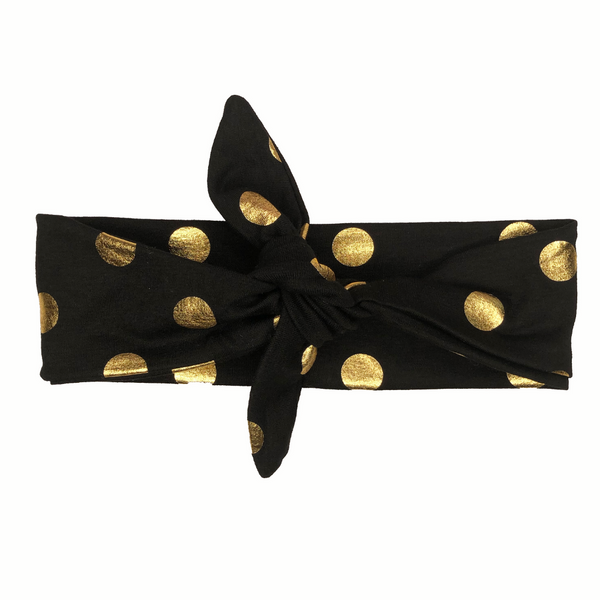 Black & Gold Knotted Headband (OS)