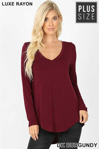 Burgundy Long Sleeve V Neck Dolphin Hem Top