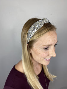 Plaza Sequined and Mesh Fabric Headband Silver