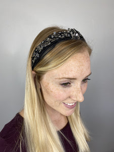 Plaza Sequined and Mesh Fabric Headband Black