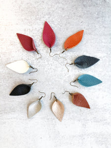 Genuine Leather Pinched Petal Earrings