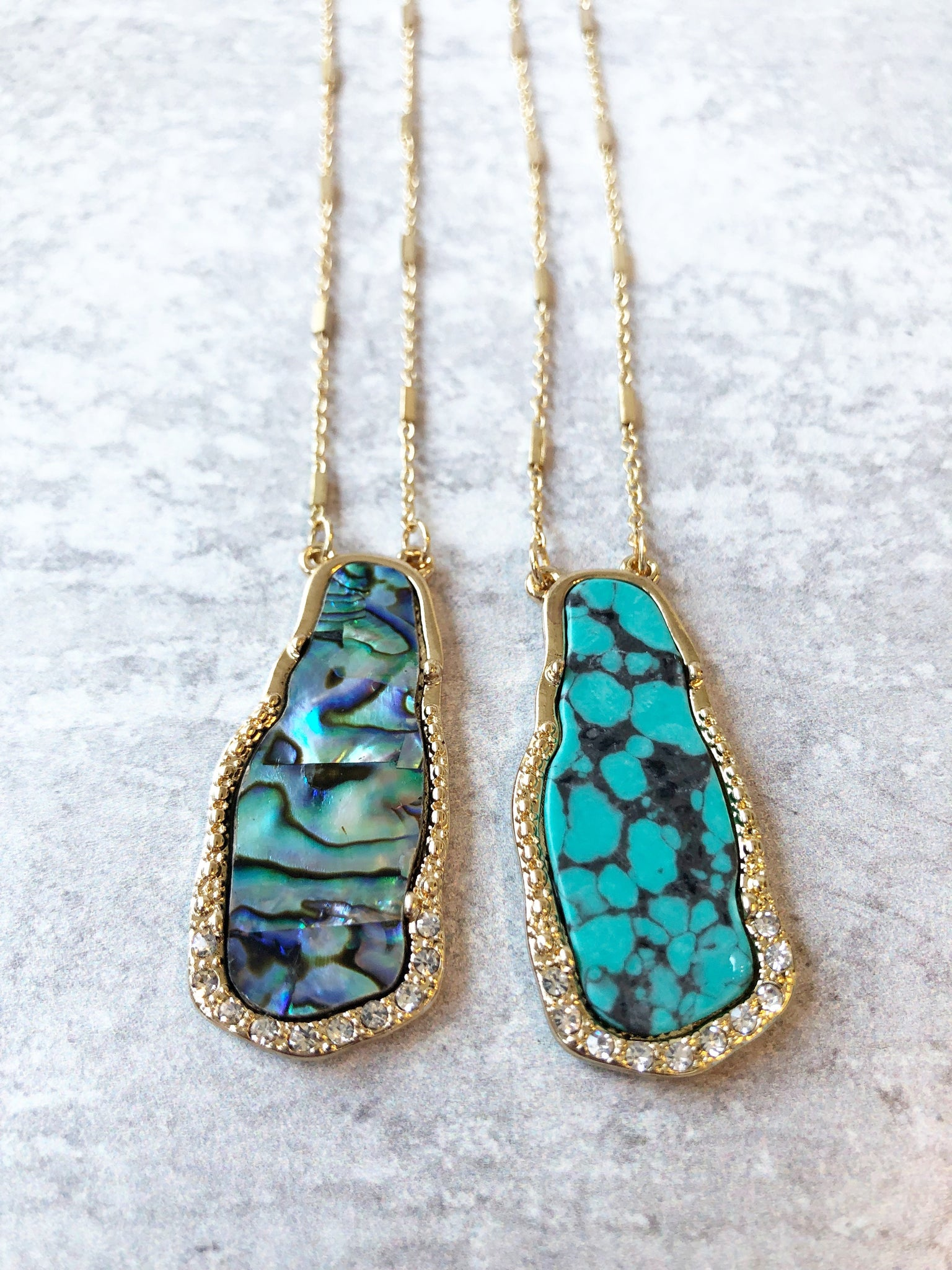 Pave and Slab Long Necklace