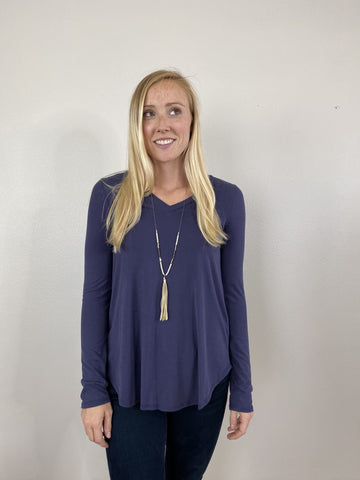 Navy Solid Blouse