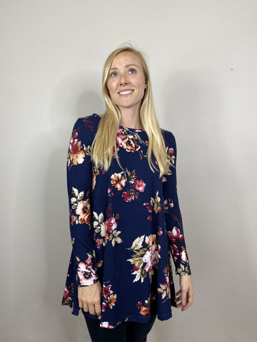 Navy & Wine Floral Tunic