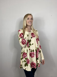 Taupe Floral Hacci Tunic