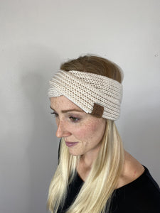 Criss Cross Knitted Cream Headband