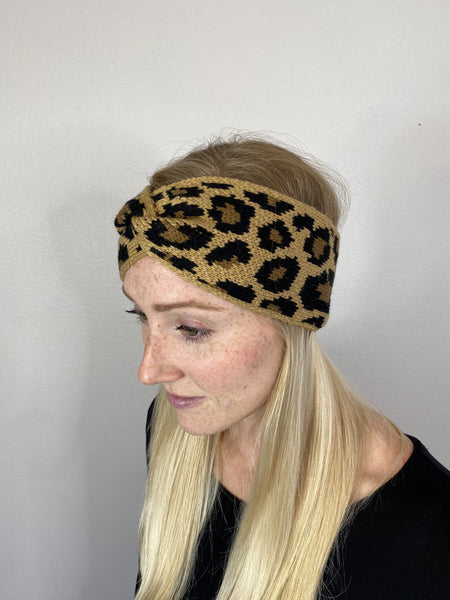 Adult Leopard Knitted Headband
