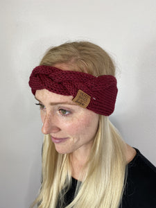 Winter Braided Maroon Headband
